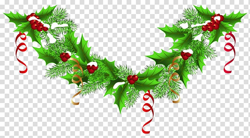 Garland clipart bough. Green and red christmas