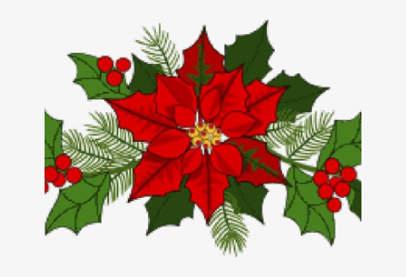 Garland clipart bough. Poinsettia holly christmas clip