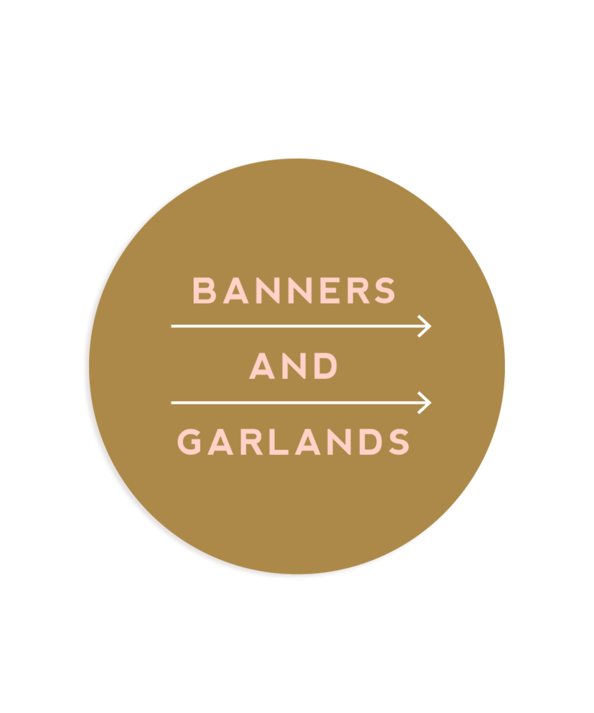 Banners and garlands bunting. Streamers clipart party horn
