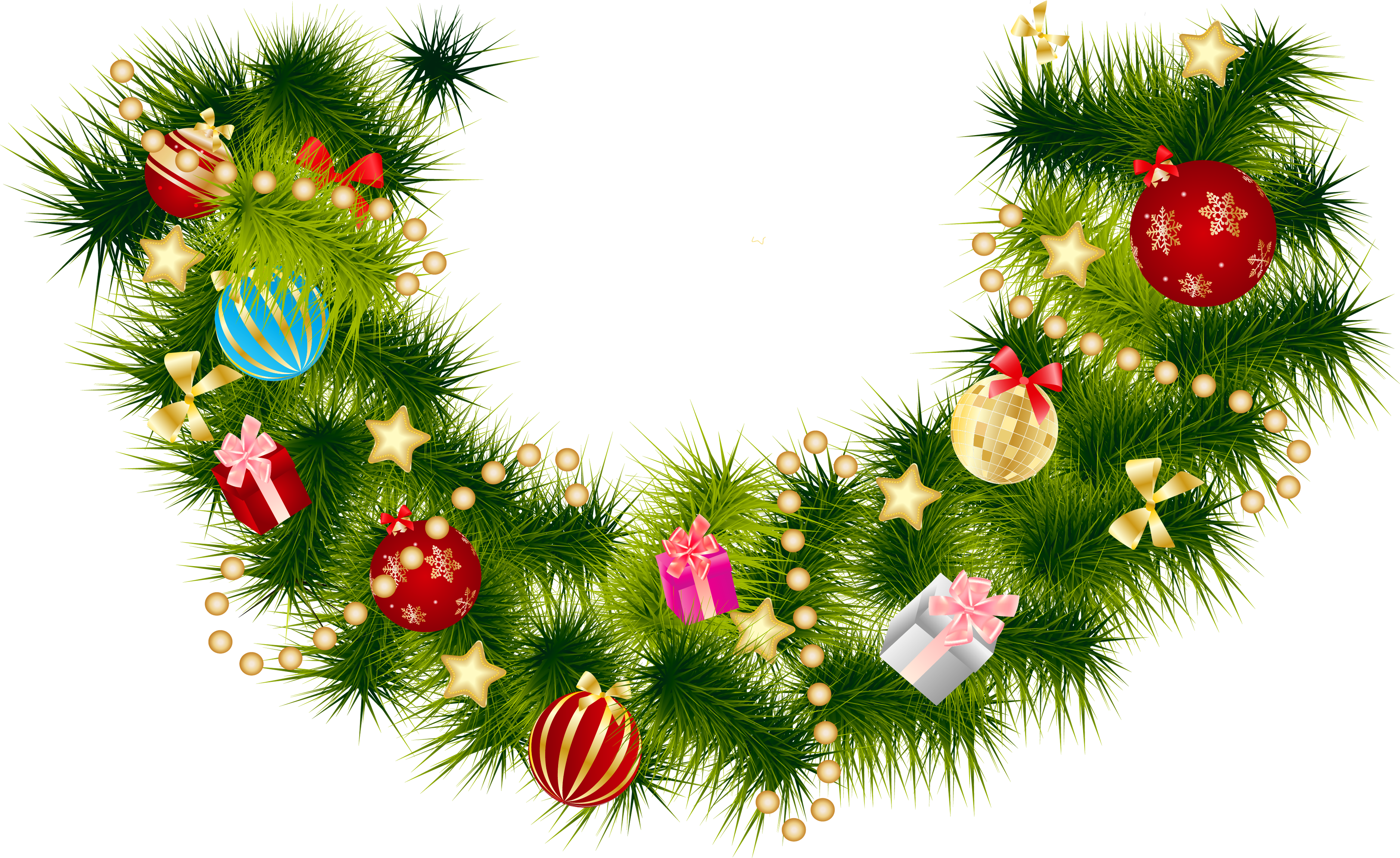 Pine branch with ornaments. Garland clipart christmas tree garland