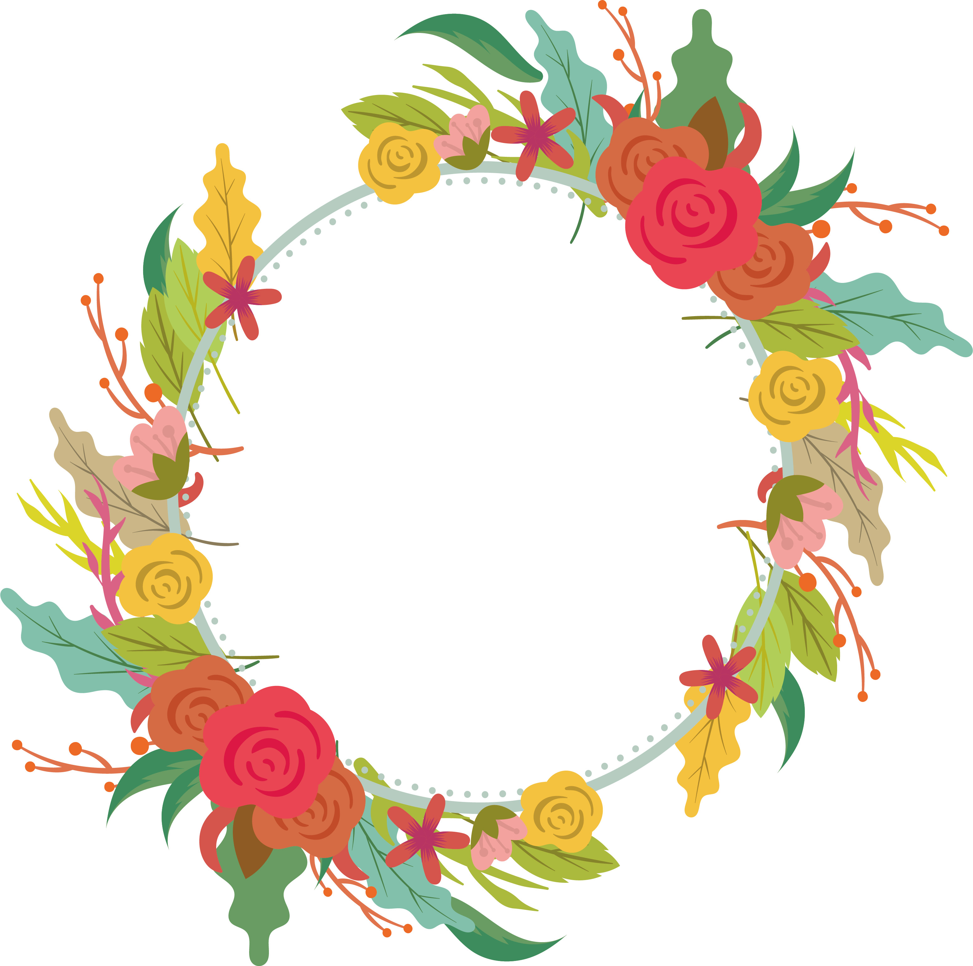 Floral design wreath beautiful. Flower garland png