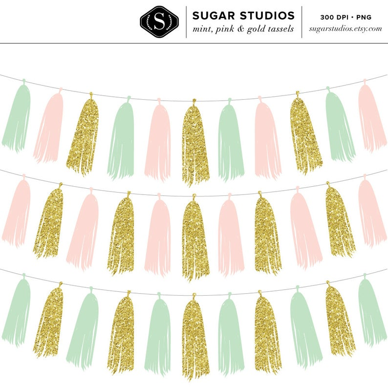 Mint pink and tassel. Garland clipart gold