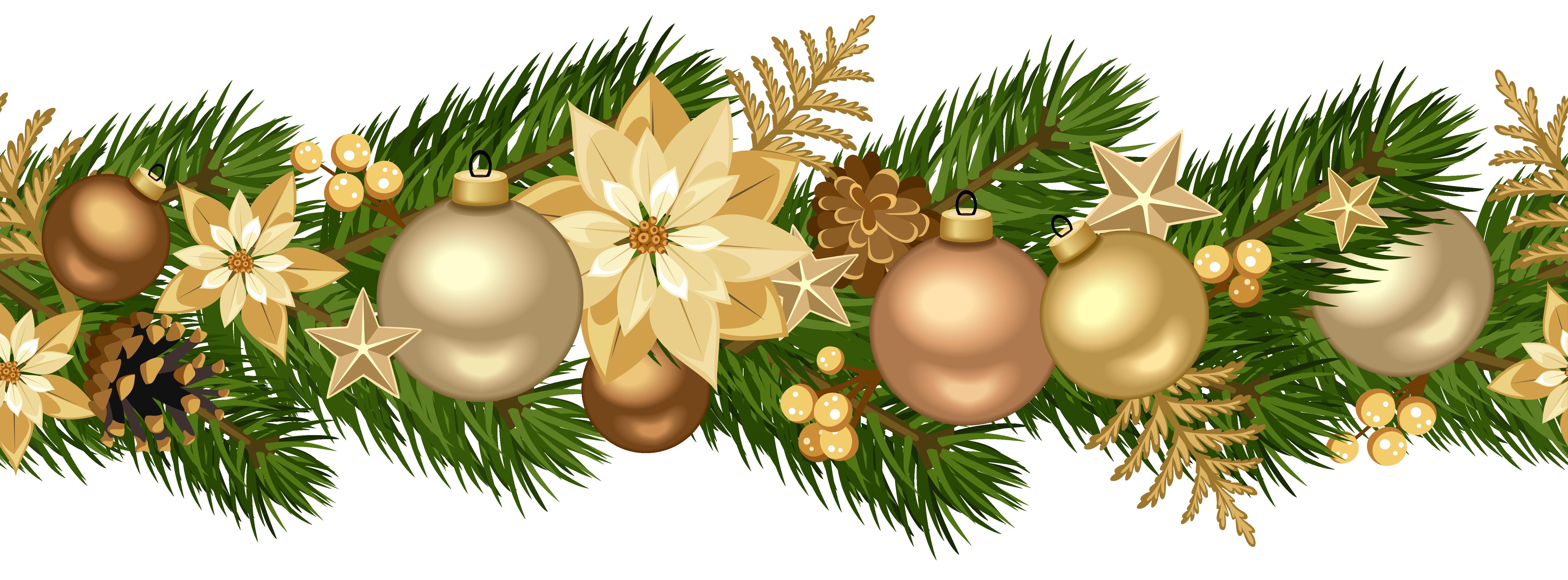 Decorative golden clip art. Christmas garland border png