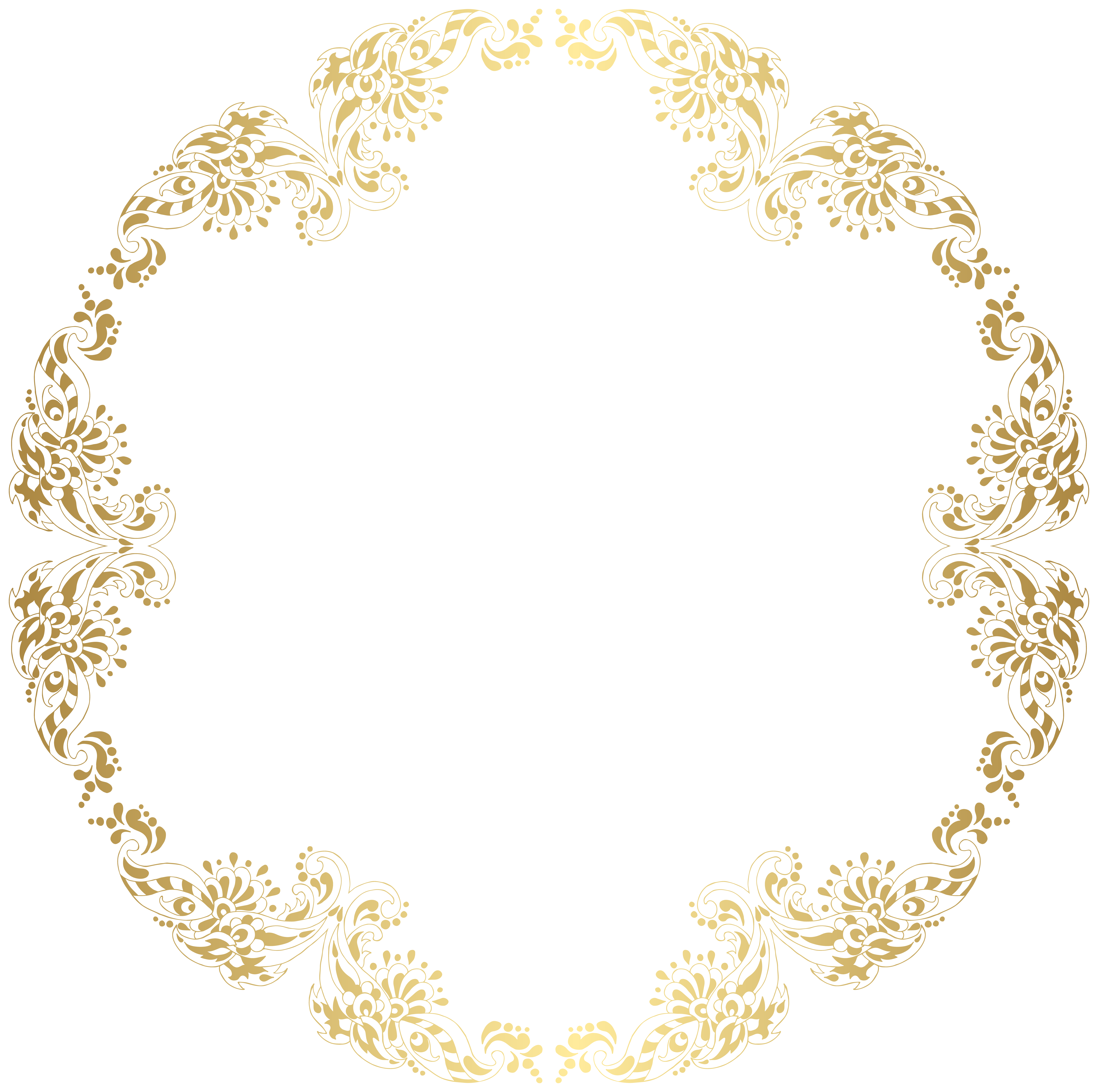 Floral round border png. Garland clipart gold