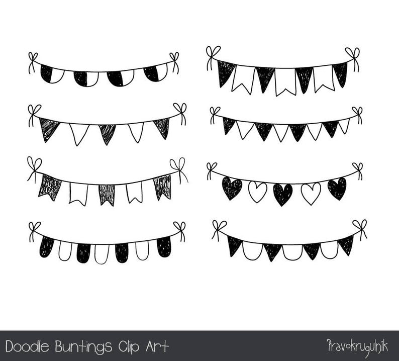 Doodle bunting clip art. Garland clipart hand drawn