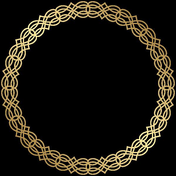 Gold circle frame png. Round border transparent clip