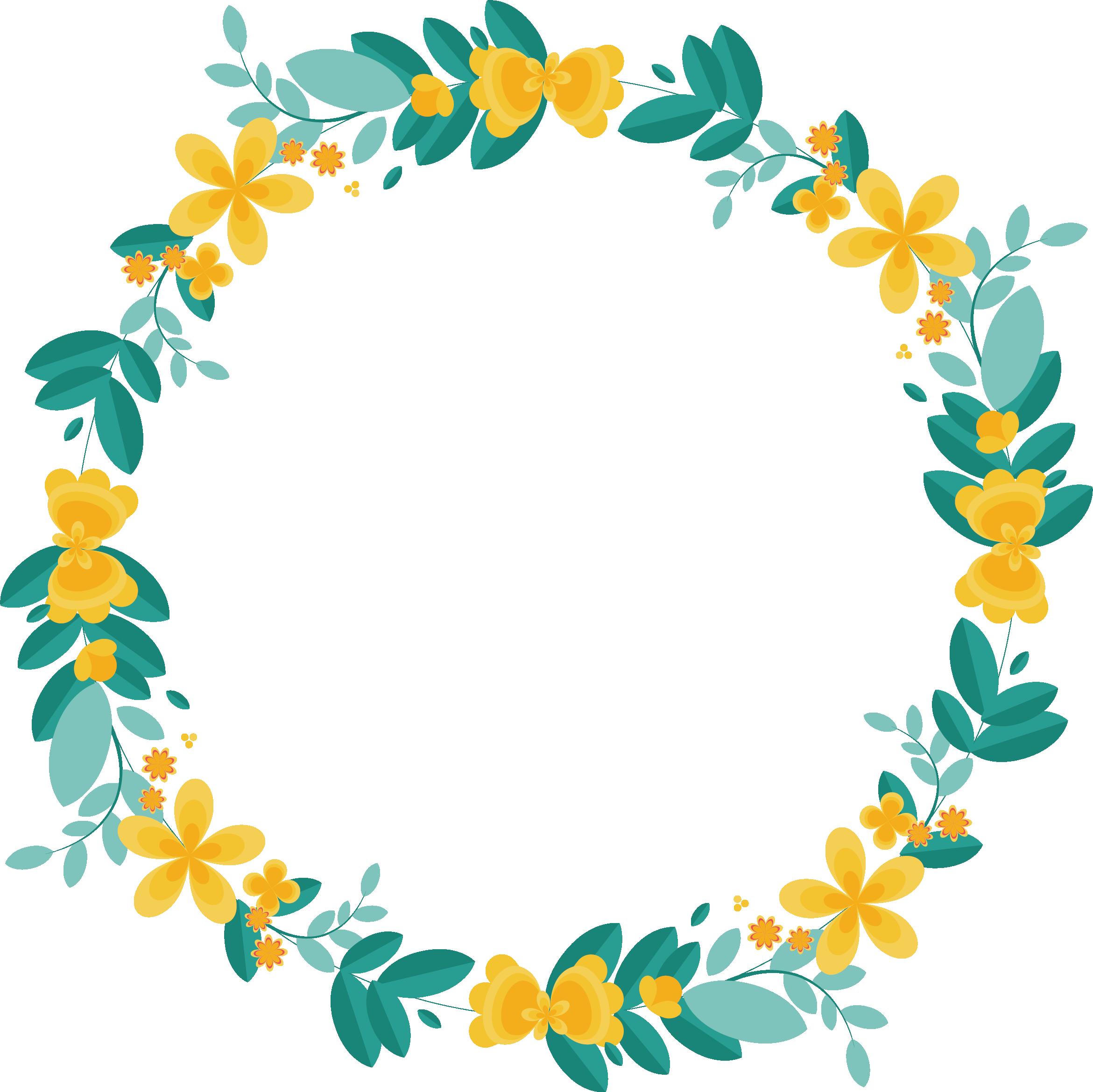 Garland clipart lemon. Border flowers wreath leaves