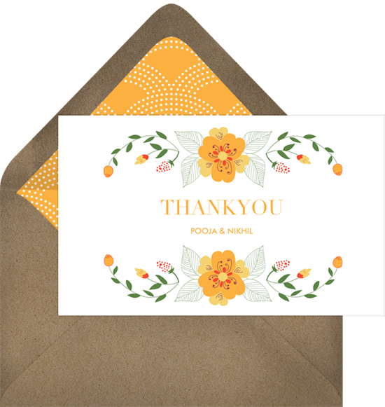 Garland clipart marigold. Thank you notes in