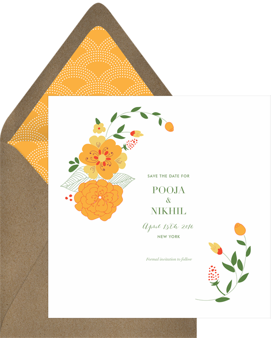 Save the dates in. Garland clipart marigold