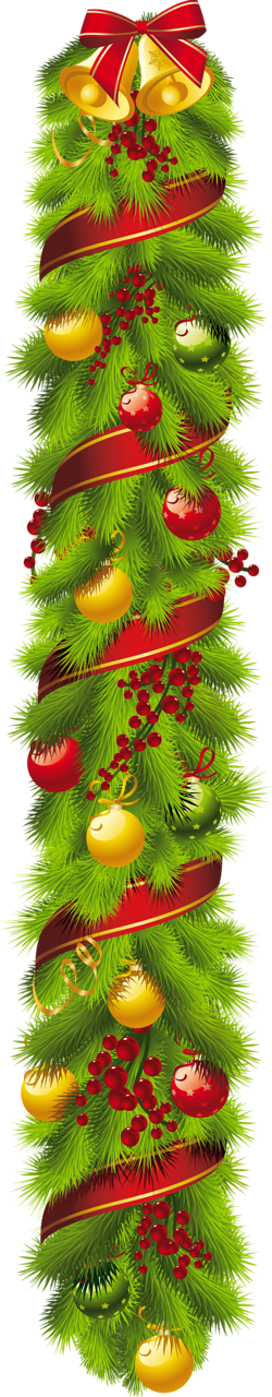 Christmas vertical swag clip. Woodland clipart garland