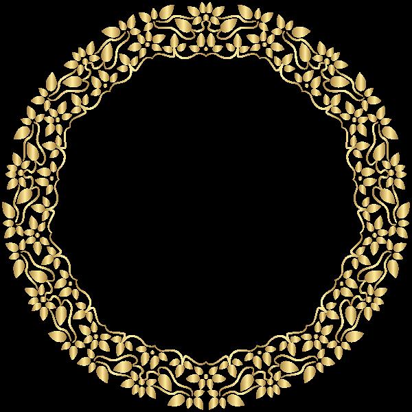 Garland clipart pearl. Round golden border frame