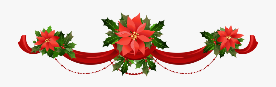 Transparent christmas garland with. Poinsettias clipart banner