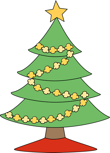 Popcorn christmas clip art. Sleigh clipart tree lighting