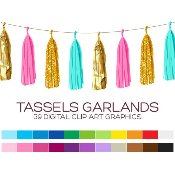 Garland clipart tassel garland. Digital bunting birthday