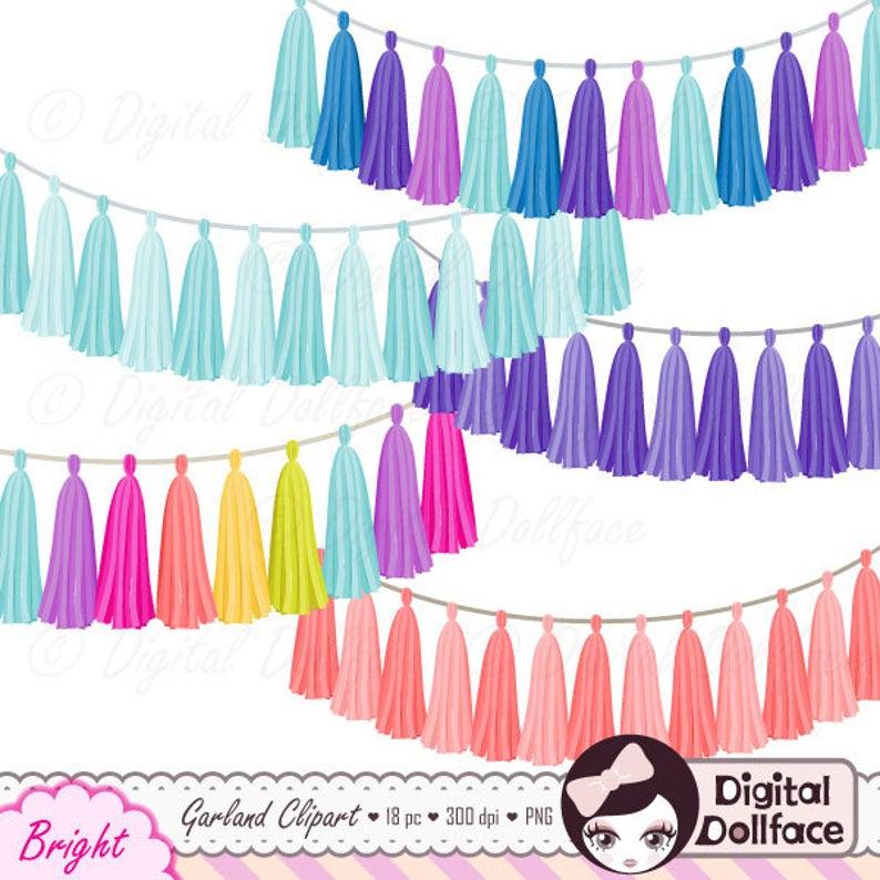 Garland clipart tassel garland. Rainbow bundle digital clip