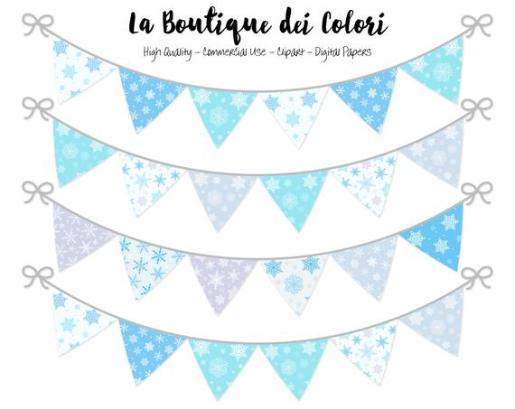 Bunting banners party flags. Garland clipart winter