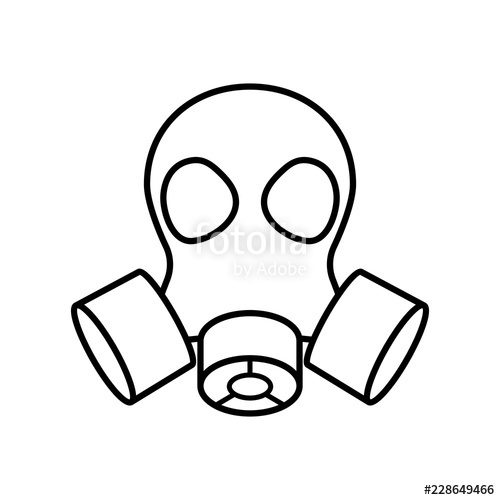 Mask outline icon image. Gas clipart simple