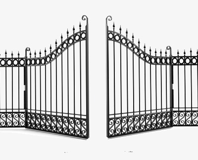 Iron fence villa open. Gate clipart