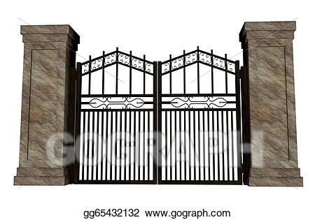 Stock illustration iron illustrations. Gate clipart big gate