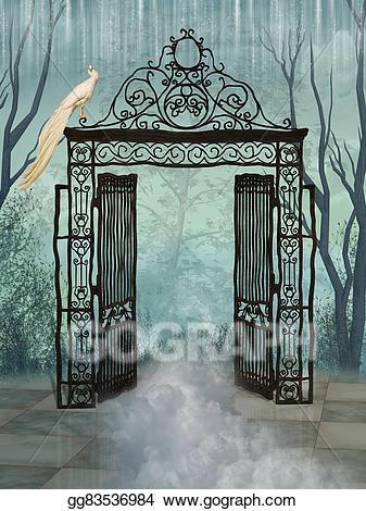 Gate clipart big gate. Fantasy landscape stock illustration