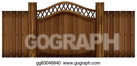 Vector art wooden and. Gate clipart brown fence