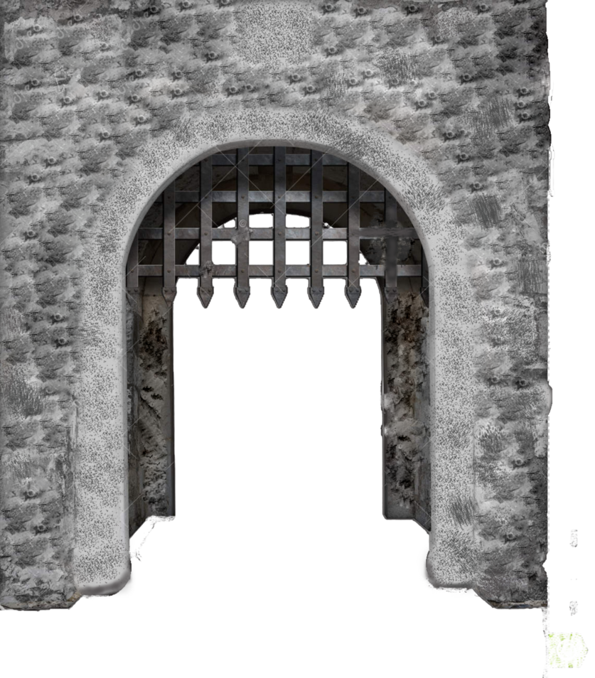 Medieval main enter isolated. Gate clipart castle gate