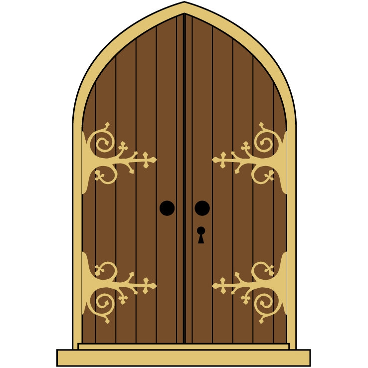 Gate clipart castle gate. Door clip art brown