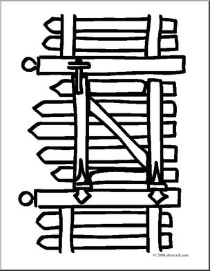 Clip art basic words. Gate clipart coloring page