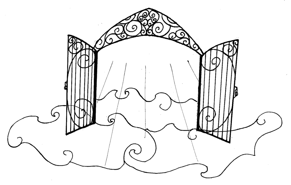 Drawing sketch coloring page. Heaven clipart pearly gates
