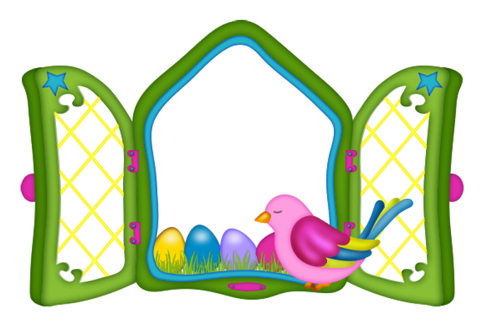 Gate clipart easter. Window with eggs and