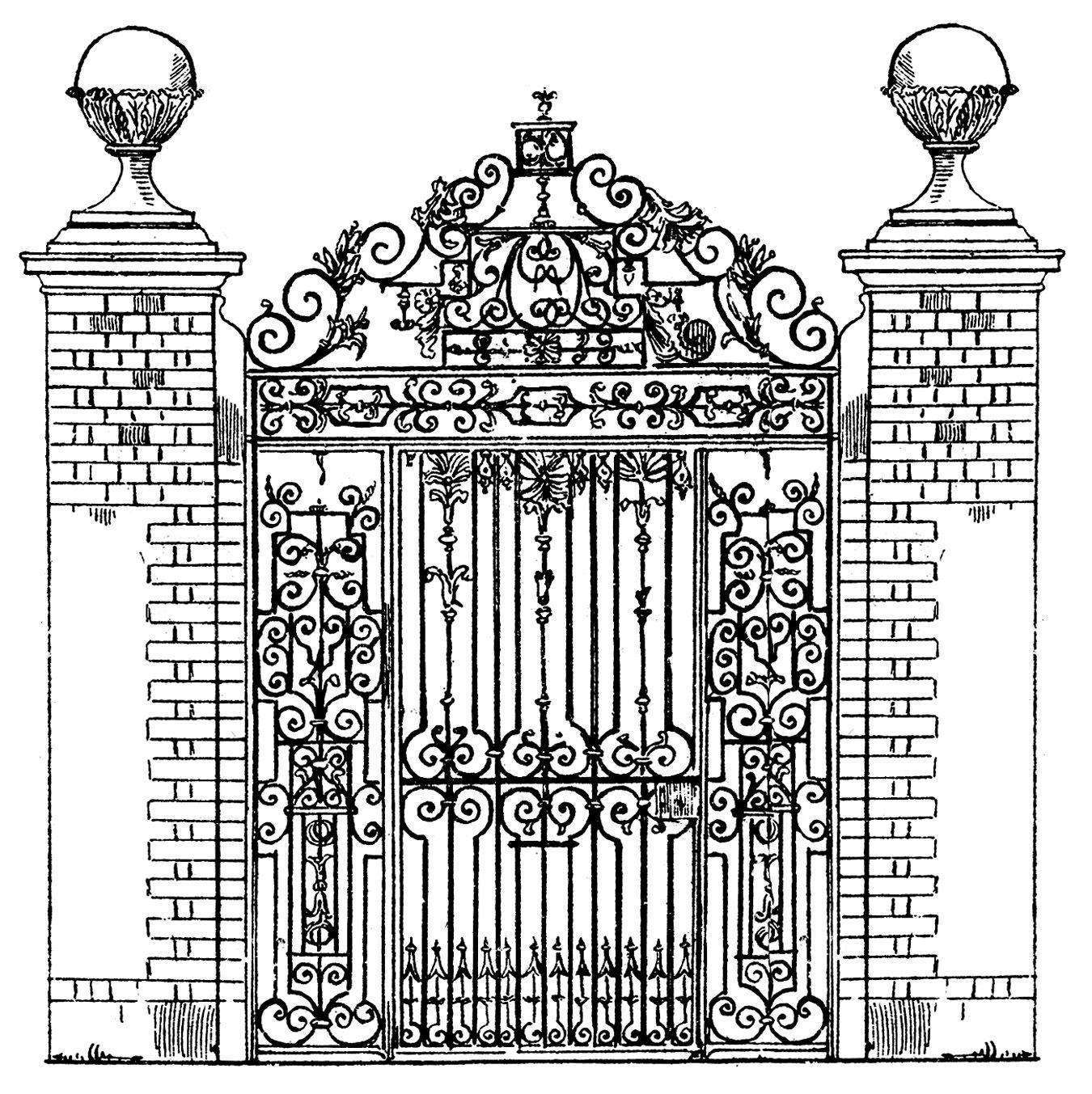 Vintage clip art ornate. Gate clipart fancy