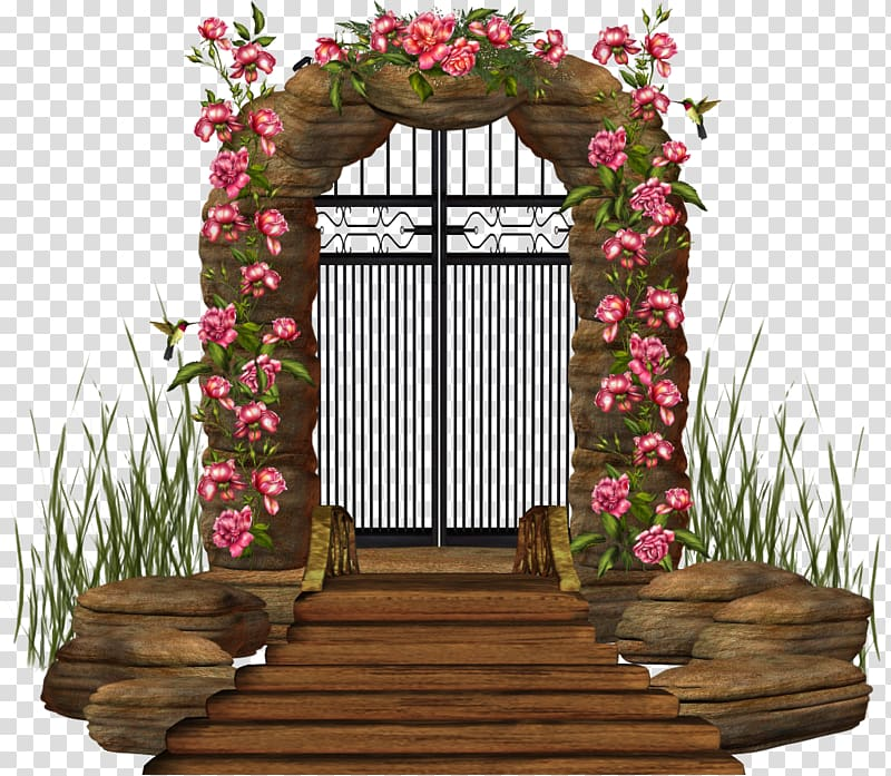Brown and red floral. Gate clipart flower