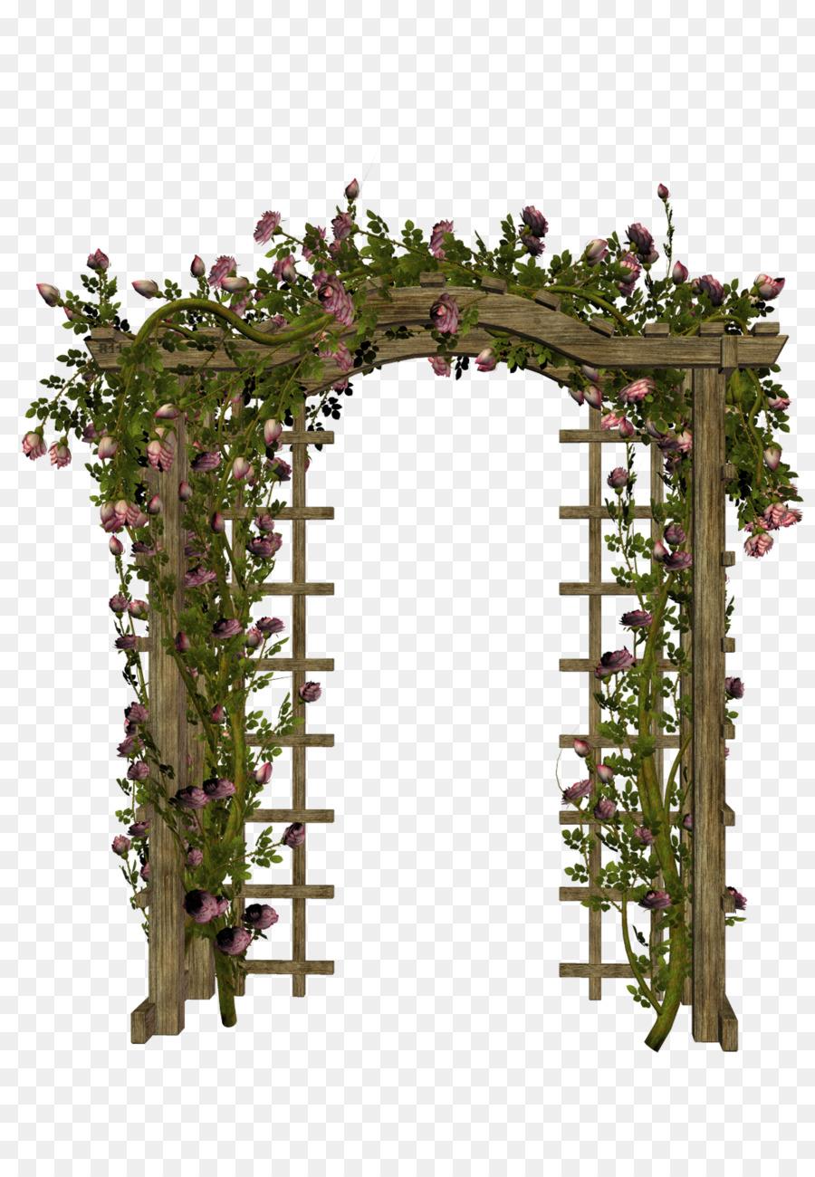 Gate clipart flower. Pink cartoon rose garden