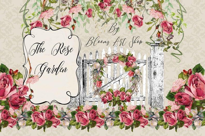 Gate clipart garden shop. Vintage rose clip art