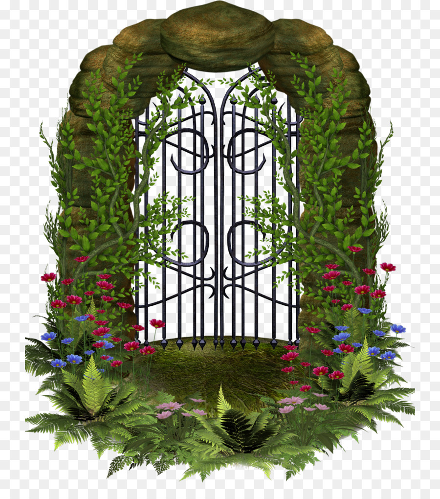 Gate clipart garden tour. Floral flower background fence