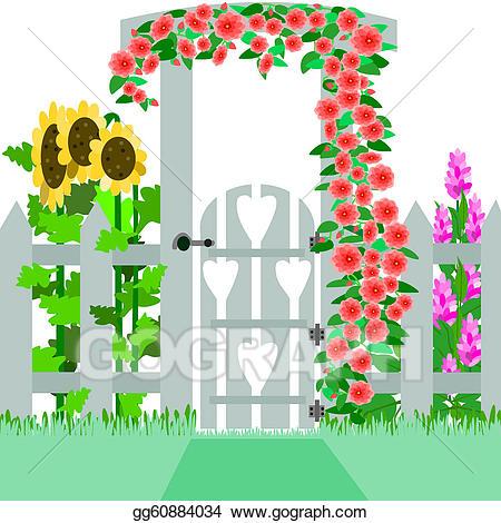 Vector stock illustration gg. Gate clipart garden tour