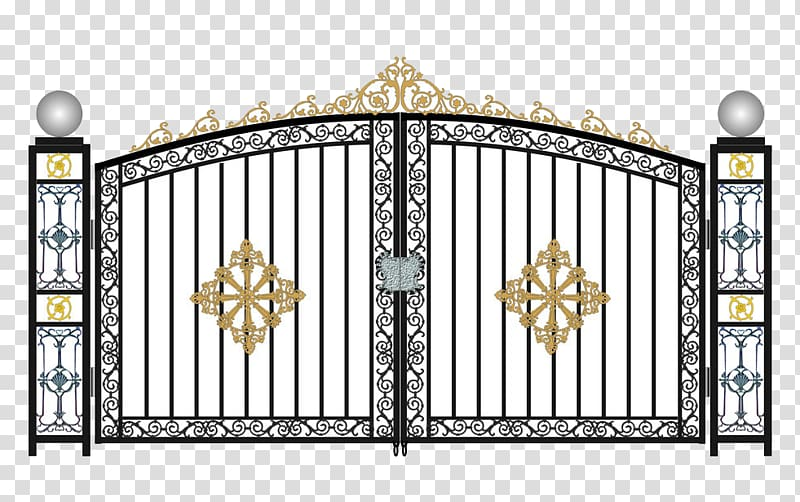White and black illustration. Gate clipart gate design
