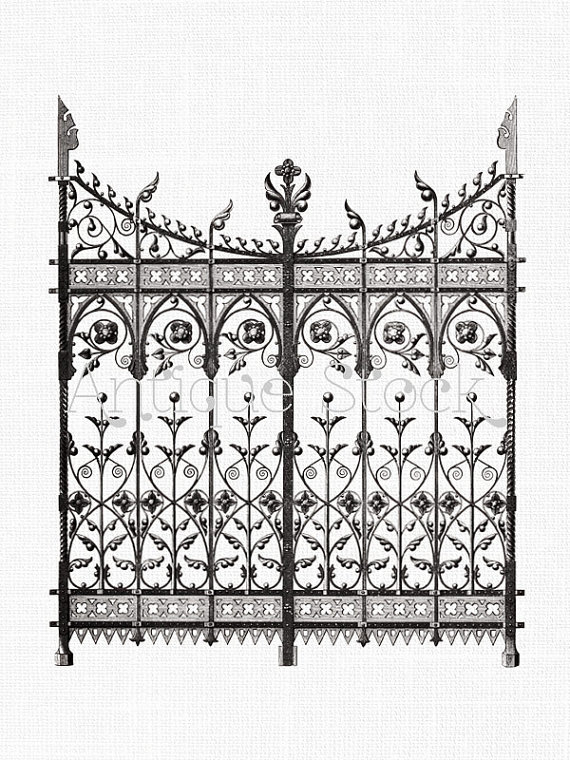 Gate clipart gate design. Wrought iron digital download