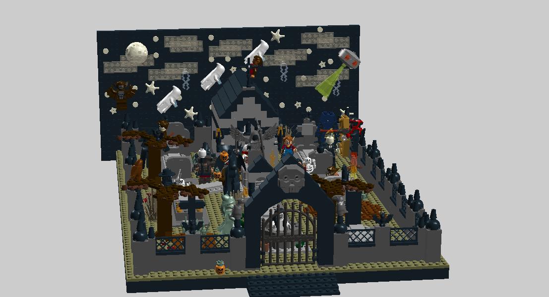 Ldd moc modular halloween. Gate clipart graveyard