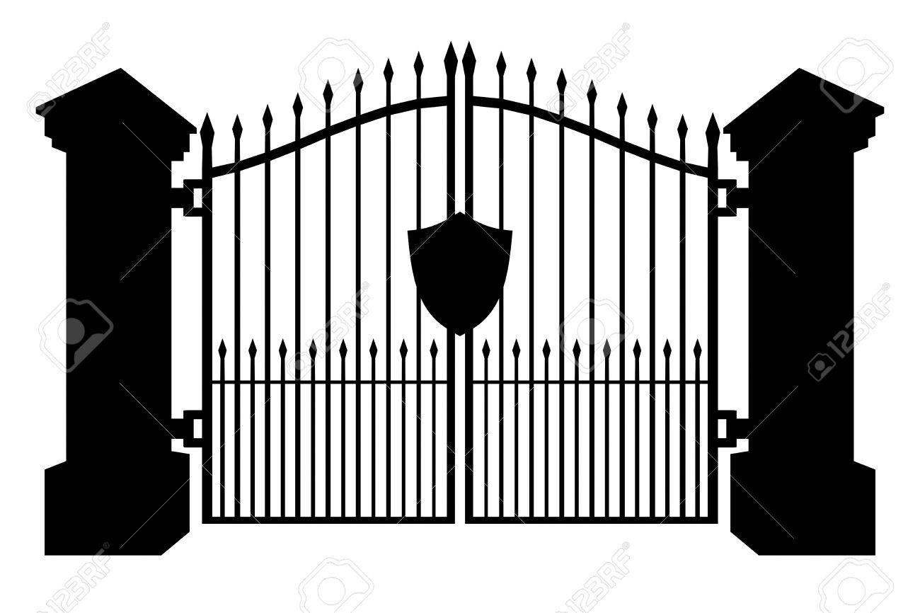 Gate clipart graveyard. Stock illustration halloween silhouettes