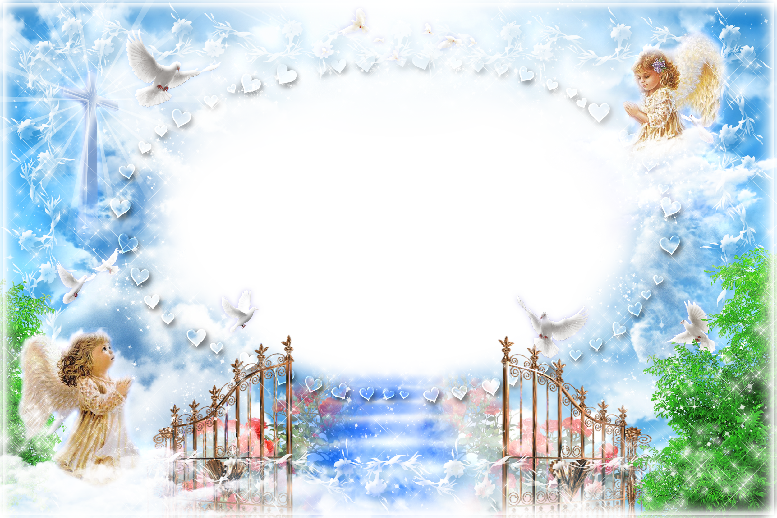 Transparent png frame angels. Heaven clipart pearl gate
