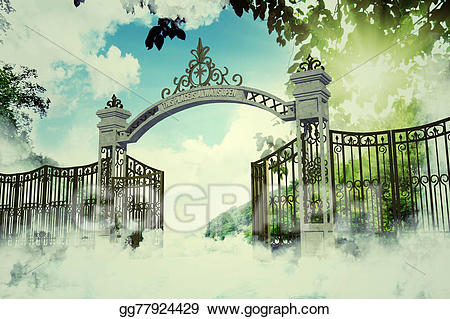 Stock illustration heaven drawing. Gate clipart heavenly