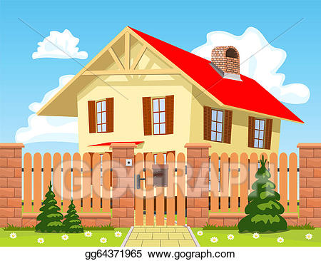 Gate clipart house gate. Clip art vector family