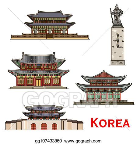 Eps illustration south korea. Palace clipart temple korean