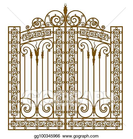 Vector forged iron illustration. Gate clipart matel