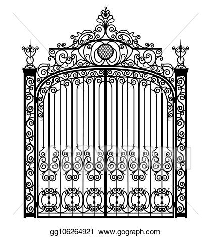 Gate clipart metal gate. Stock illustration black drawing