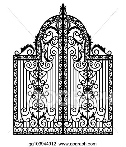 Stock illustration black drawing. Gate clipart metal gate