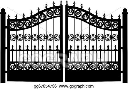 Gate clipart metallic. Clip art vector openwork
