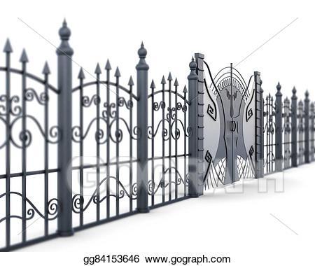 Stock illustration metal fence. Gate clipart metallic