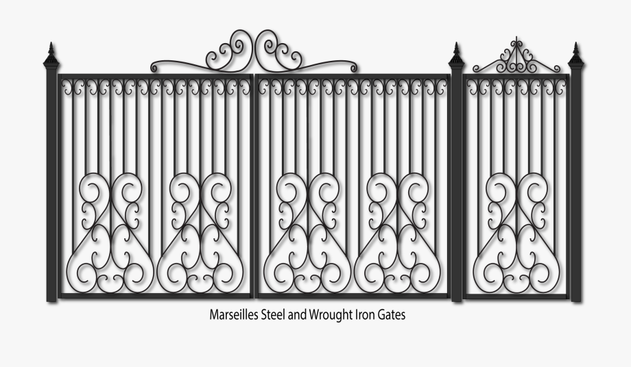 Steel and metal fencing. Gate clipart metallic